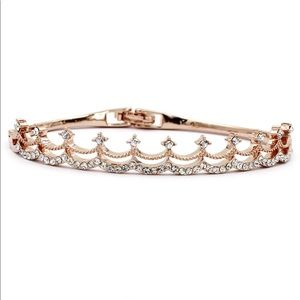 Rose gold  fashion small crystal crown bracelet